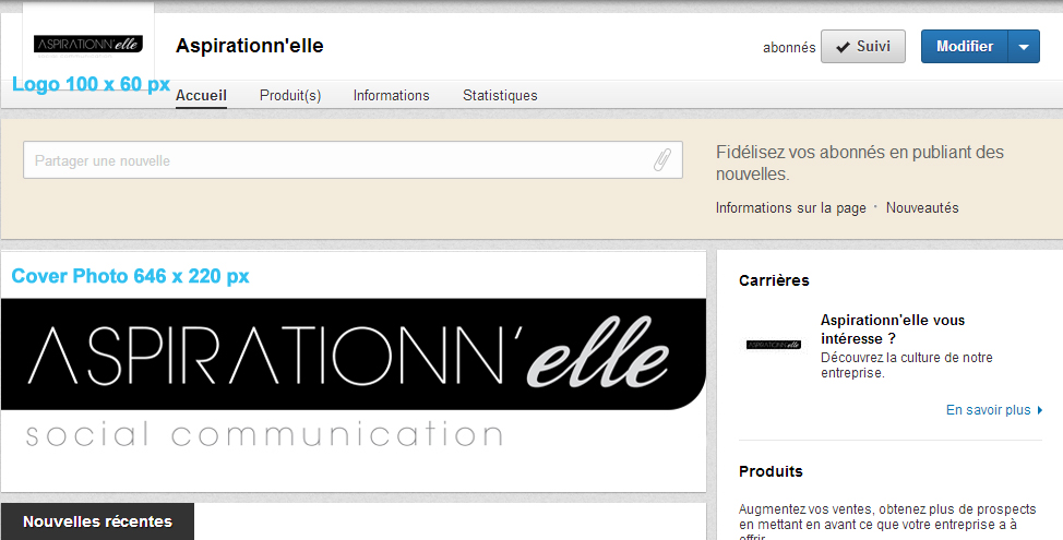 Aspirationn'elle - Community Manager Freelance Autoentrepreneur Lille - Cover et profil LinkedIn