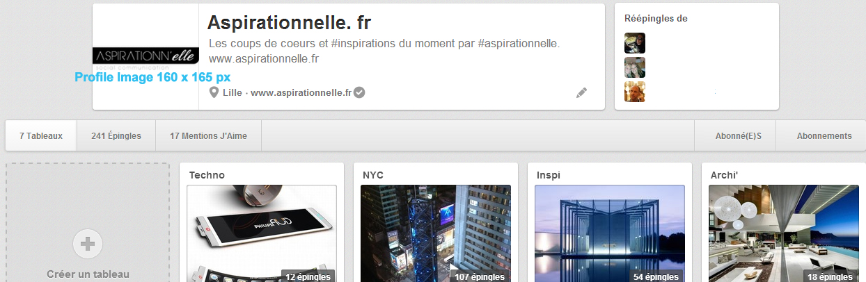 Aspirationn'elle - Community Manager Freelance Autoentrepreneur Lille - Cover et profil Pinterest